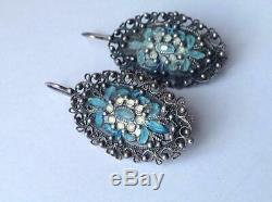 Big Vintage USSR Filigree Niello Sterling Silver 875 Enamel Women's Earrings
