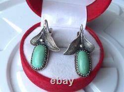 Big Vintage USSR Filigree Sterling Silver 925 Womens Earrings GemStone Turquoise