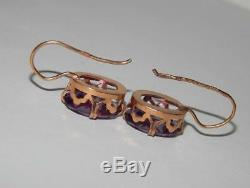 Big Vintage USSR Soviet Gilt Sterling Silver 875 Woman's Earrings Alexandrite