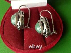 Big Vintage USSR Sterling Silver 875 Womens Earrings Natural Stone Jade Nephrite