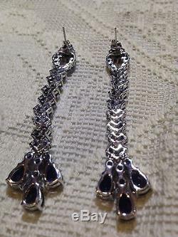 Blue Iolite Gemstone 92.5% Sterling Silver Vintage Long Shoulder Duster Earrings
