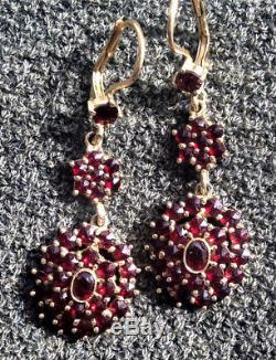 Bohemian Estate rose cut garnet Vintage dangle tier earrings gold over sterling