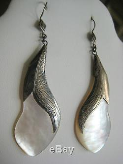 Bold Estate Vintage Sterling Silver Abalone Earrings Hand Made Art Nouveau Style