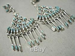 Breathtaking Vintage Zuni American Turquoise Sterling Silver Dangle Earrings