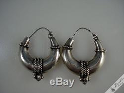 C1970 Retro Vintage Czech Sterling Silver Nautical Hoop Earrings European