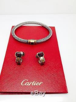 CARTIER VINTAGE GARNET BANGLE 18K&Sterling Silver Signed With Matching Earrings