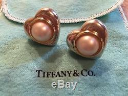 CHIC Tiffany & Co ESTATE VINTAGE Pierced Mabe PEARL 18k GOLD Sterling EARRINGS