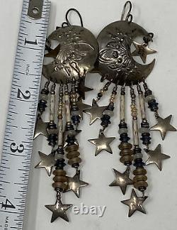 COOL Vintage Signed TABRA STERLING SILVER MOON & STAR Long Dangle EARRINGS