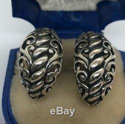 Carolyn Pollack Cp Signed Hoops Vintage Sterling Silver Earrings 925 Omega