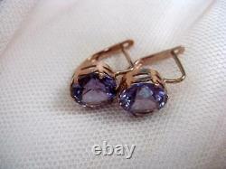 Change Color Alexandrite Vintage USSR Gilt Sterling Silver 875 Earrings 4.15gr