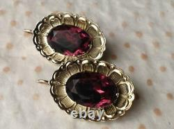 Chic Vintage Antique Soviet USSR Russian Earrings Stone Gilt Sterling Silver 875