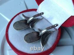 Chic Vintage Original Soviet USSR Russian Earrings Turquoise Sterling Silver 925