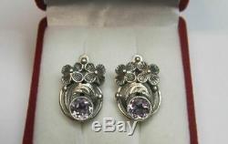 Chic Vintage Soviet Earrings Sterling Silver 875 Alexandrite Stone Antique USSR
