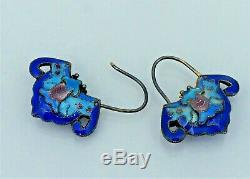 Chinese Export Sterling Cloisonne Enamel Bat Earrings Silver Antique Vintage Old