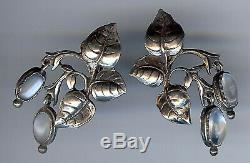 Cini Vintage Sterling Silver Leaves Moonstone Screwback Dangle Earrings
