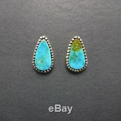 Classic Vintage NAVAJO Sterling Silver and BLUE GEM TURQUOISE EARRINGS Pierced