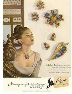 Coro Craft brooch earrings Set Sterling Vintage / Antique 1940s Des. Pet. 146503