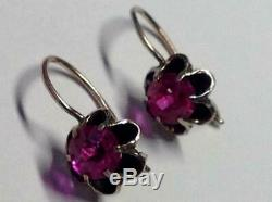 Cute Natural Alexandrite Vintage Earrings Russian USSR Gilt Sterling Silver 875