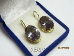 Cute Natural Alexandrite Vintage Russian USSR Gilt Sterling Silver 875 Earrings