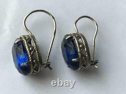 Cute Vintage Antique Soviet USSR Russian Earrings Stud Ear Sterling Silver 875