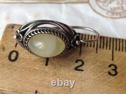 Cute Vintage USSR Sterling Silver 875 Womens Earrings Natural Stone Agate Gift