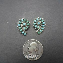 DELICATE Vintage ZUNI Sterling Silver TURQUOISE Petit Point EARRINGS Pierced