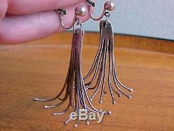Double Whisk Wisk Earrings, Sterling Silver, Vintage