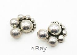 DULCE MEXICO 925 Sterling Silver Vintage Modernist Non Pierce Earrings E7401