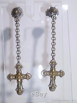 Dangle Cross Earrings Fine Sterling Silver 925 18K Yellow Gold Estate Vintage