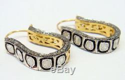Dangliers. 925 Sterling Silver Vintage Inspired 2.79Ct Rose Cut Diamond Earrings