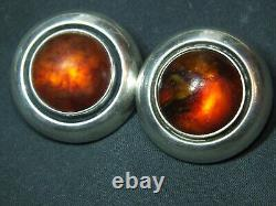 Danish Vintage Sterling Silver Ear Clips with Amber N. E. From
