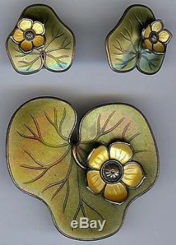 David Andersen Norway Vintage Sterling Olive Enamel Lily Pad Pin & Earrings Set