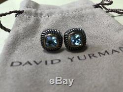 David Yurman 14K Sterling Blue Topaz Albion Gold Silver Earrings Stud Vintage