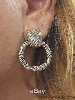 David Yurman 14k Gold Sterling Silver Cable Vintage Doorknocker Hoop Earrings