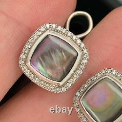 David Yurman Sterling Albion Black Mother Of A Pearl Diamond Earrings Vintage