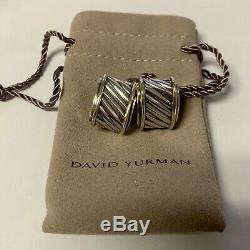 David Yurman Vintage Cigar Cable Band Earrings Sterling & 14k Yellow Gold EUC