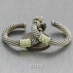David Yurman Vintage Estate Sterling Silver 14k Yellow Gold Cable Hoop Earrings