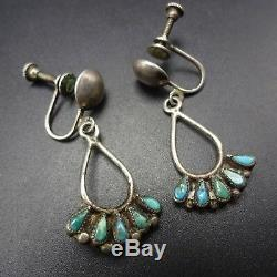 Delicate Vintage ZUNI Sterling Silver & TURQUOISE Petit Point EARRINGS Screwback