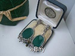 Delightful Vintage Solid Sterling Silver Chrysoprase & Marcasite Dangle Earrings