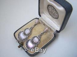 Delightful Vintage Solid Sterling Silver Mother Of Pearl Marcasite Earrings