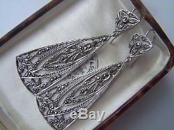 Delightful Vintage Solid Sterling Silver Openwork Pierced Marcasite Earrings