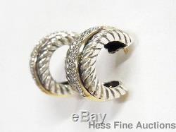 Diamond 18k Gold Sterling Silver David Yurman Small Hoop Vintage Earrings