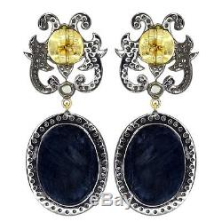 Diamond Black Spinel Dangle Earrings 14k Gold Sterling Silver Vintage Jewelry