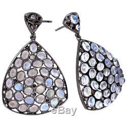 Diamond Moonstone Pave 925 Sterling Silver Dangle Earrings Vintage Style Jewelry