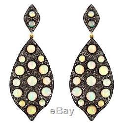 Diamond Pave Opal 14k Gold Dangle Earrings Sterling Silver Vintage Style Jewelry