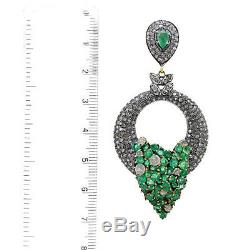 Diamond Studded 925 Sterling Silver Emerald Dangle Earrings Vintage Gold jewelry