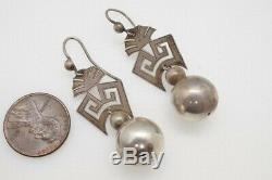 Distinctive Antique Late Victorian English Sterling Silver Orb Drop Earrings