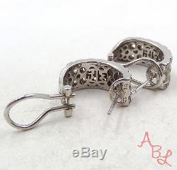 EFFY BH Sterling Silver Vintage 925 Basket Weave Diamond Earrings (9.5g) -499708