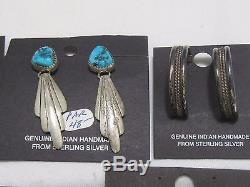 ESTATE LOT 10 Pair Vintage Sterling Turquoise Navajo Zuni Pierced Earrings BE542