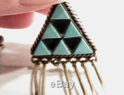 ESTATE Native American Vintage Sterling Silver Zuni Turquoise Earrings K1035